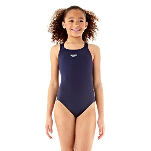 Speedo Girls Essential Endurance+ Medalist Swimsuit, Blue, 3