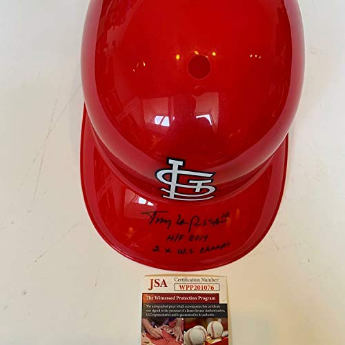 Tony Larussa HOF 2014 2X World Series Champ Autographed Signed St Louis Cardinals Helmet Memorabilia -