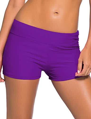 Aleumdr Women's Wide Waistband Swimsuit Bottom Shorts Swimming Panty