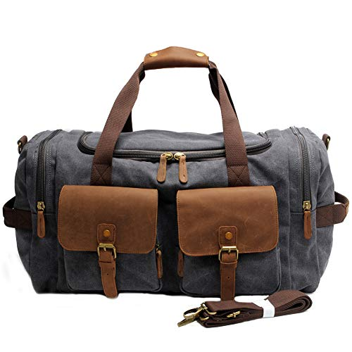 Kemy's Canvas Duffle Bag for Mens Oversized Overnight Bag Weekend Duffel Weekender Travel Bags Leather Doufle Gym Carryon Airplanes Carry On Luggage Large Easter Gifts ()