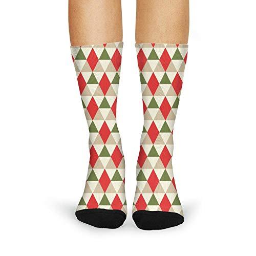 Milr Gile Women's christmas geometric pattern Crew Tube Socks Crazy Novelty High Athletic Socks
