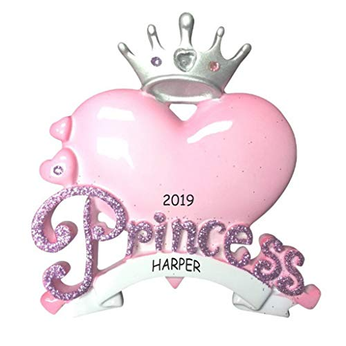 DIBSIES Personalization Station Personalized Princess Heart Kids Christmas Ornament -