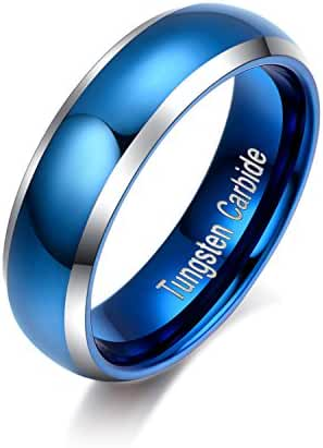 LALOPEZ 6mm Domed Tungsten Carbide Womens Ring Blue Polished Beveled Edge Comfort Fit