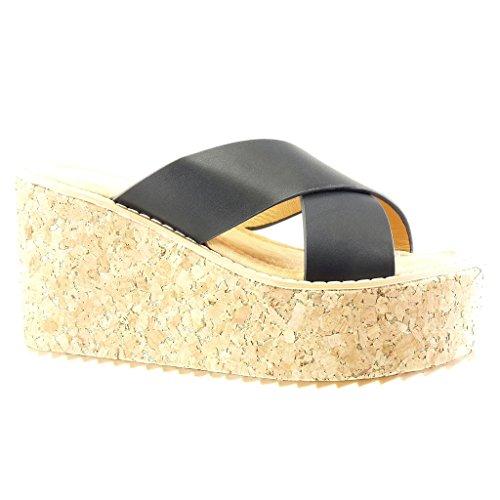 Angkorly - Zapatillas de Moda Mules Sandalias zapatillas de plataforma mujer corcho tanga Talón Plataforma 9.5 CM - Negro