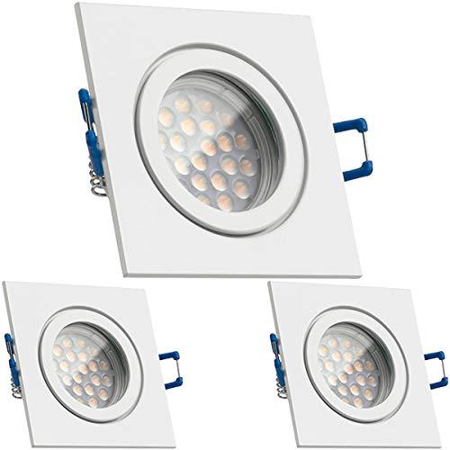 3er IP44 LED Einbaustrahler Set Weiß mit LED GU10 Markenstrahler von LEDANDO - 5W DIMMBAR - warmweiss - 60° Abstrahlwinkel - Feuchtraum Badezimmer - 50W Ersatz - A+ - LED Spot 5 Watt - eckig