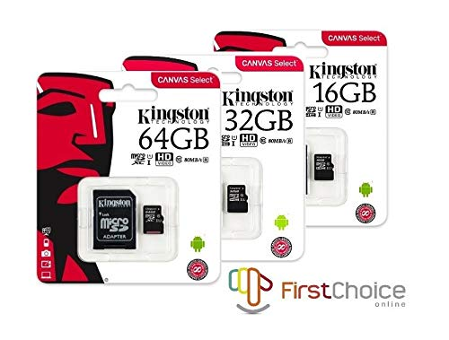 Kingston Canvas Select 16GB microSDHC Class 10 microSD Memory Card UHS-I 80MB/s R Flash Memory Card with Adapter (SDCS/16GB) (Sd Card 16 Gb For Cell Phone)
