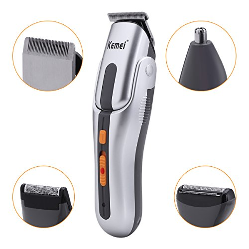 Shavers for Men,Bienna Electric Cordless Rechargeable Hair Clippers Nose Ear Beard and Sideburn Precision Trimmer Male Face Body Grooming Set with Waterproof Flexible Pivoting Head & 3 Guide Combs (Body System Grooming)
