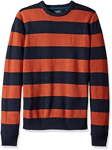 Rugby Stripe Crewneck Sweater - IZOD Men's Slim Fit Newport Stripe 7 Gauge Crewneck Sweater, Rugby Ketchup, Medium