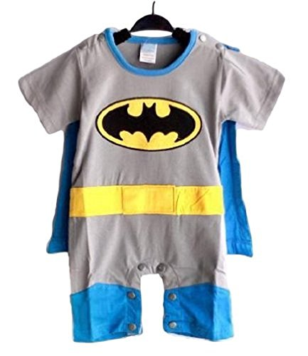 Spiderman Superman Batman Supergirl Baby Toddler All in 1 Fancy Dress Outfit Romper Suits with Cape (70 (0-6month), Batman)