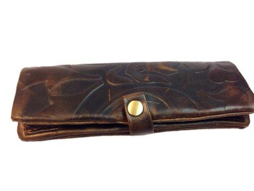 Kavatza girevole tasche–tabacco tasche–Astuccio per tabacco in vera pelle con scomparto Paper drehhilfe e lungo