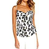 Womens Spaghetti Strap Soft Racerback Tank Top Casual Leopard Print Beach Clubwear Halter Backless Camisole Crop Tops White