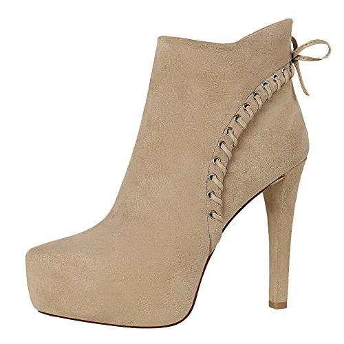 Carolbar Womens Zip Elegance Platform Dress Party Stiletto High Heel Boots Khaki
