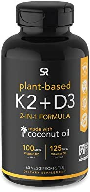 Vitamin K2 + D3 with Organic Virgin Coconut Oil | Vegan D3 (5000iu) with MK7 Vitamin K2 (100mcg) from Chickpea