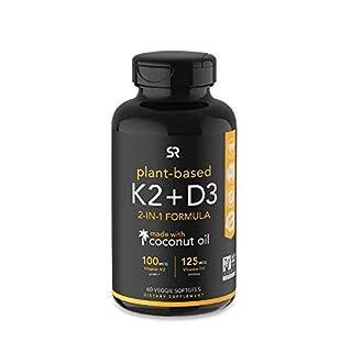 Vitamin K2 + D3 with Organic Coconut Oil - 60 Veggie Softgels