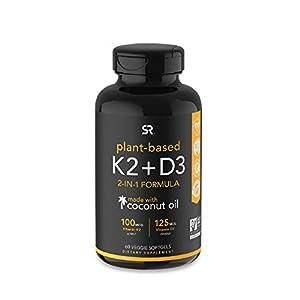 Vitamin K2 + D3 with Organic Coconut Oil – 60 Veggie Softgels