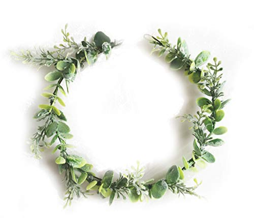 (FIDDY898 Artificial Floral Crown Green Flower Crown Floral Bridal Headpiece for Photo)