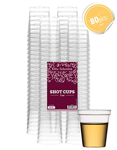 Elite Selection Shot Glasses 2 Oz. Clear Hard Plastic Cups Disposable | Pack of (80) Nice Party Shot Cups - Tasting Cups-Party Accessories -