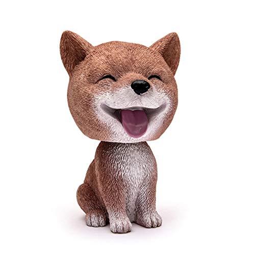 3.7'' Resin Lovely Pomeranian Corgi Teddy Dog Figurine Cute Cartoon Shakeable Head Dog Model Miniature For Car Home Decor Shiba Inu Model 6x9.5cm(2.3x3.7Inch)