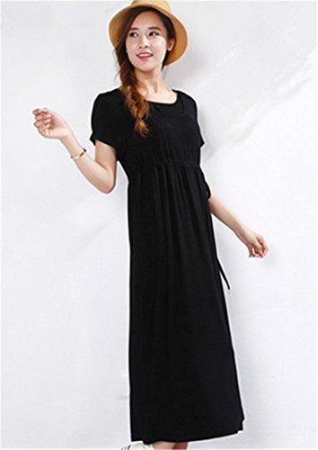Unimommy Summer Maternity Pregnant Full-length Clothing Breastfeeding Maxi Dress (Large, Black) (Period Dress)