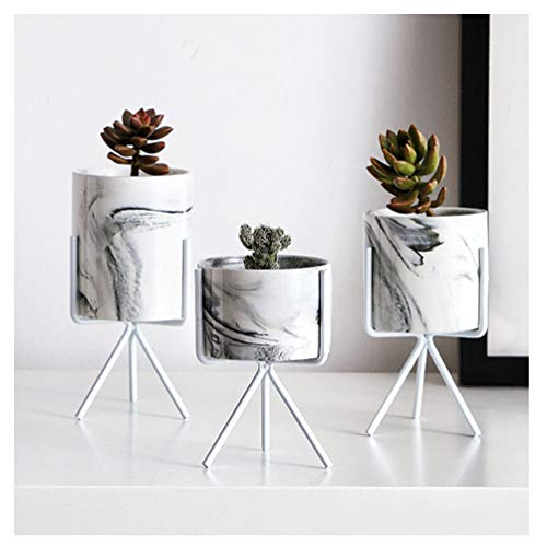 Marble Iron Ceramics Flowerpot with Iron Rack - Succulent for sale  Delivered anywhere in USA