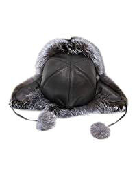1fbcd3dd0ee qmfur Womens Winter Real Fox Fur Hat Genuine Leather Adjustable Russian  Trapper Hats