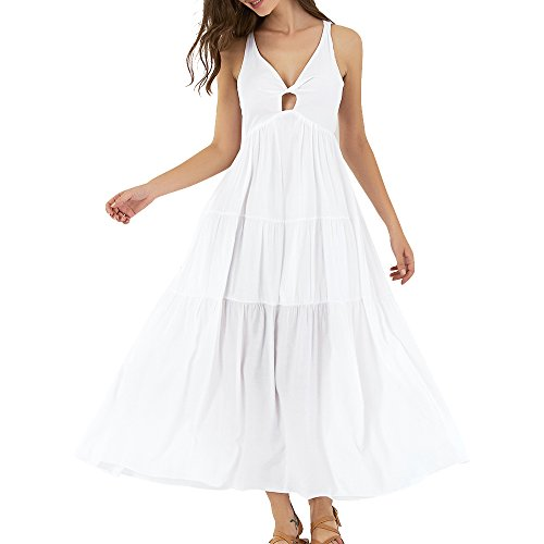 ZAFUL Halter Deep V Keyhole Sleeveless Backless Beach Maxi Dress Solid Floral Split Dress