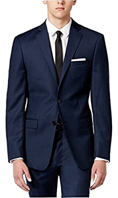 Calvin Klein Blue Birdseye Two Button Flat New Men's Suit Set
