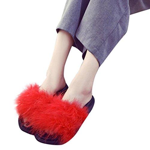 Creazy Dames Dames Slip Op Sliders Zachte Konijnenbont Platte Slipper Flip Flop Sandaal (38, Zwart) Rood