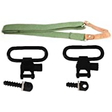 """Ultimate Arms Gear Two QD 1"""" Inch Slot Loop Wood Screws Studs Type Swivels with Spacers + Two-Point Canvas Sling, OD Green Springfield Armory, M1A, M1-A Garand/Carbine, Socom Rifle"""