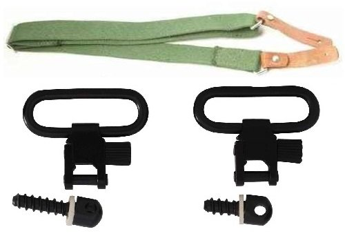 Ultimate Arms Gear Two QD 1'' Inch Slot Loop Wood Screws Studs Type Swivels with Spacers + Two-Point Canvas Sling, OD Green Ruger 1022, 10/22 10-22, Mini-14, SR-556, SR-22 Rifle by Ultimate Arms Gear