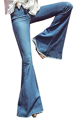Jaycargogo Women's Vintage Bell Bottom High Waist Flared Denim Jeans Blue L