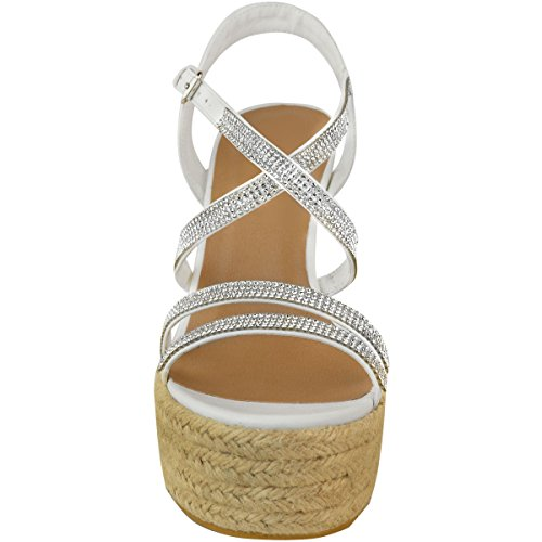 Faux Shoes Diamante Ladies High Thirsty Strappy Fashion Womens Wedge Platforms UK Sandals White Leather Heels Size TwH6vx