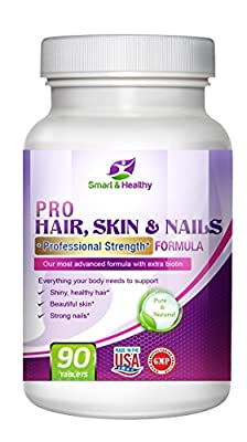 Smart and Healthy Pro Hair, Skin and Nails. Professional strength formula with Biotin, Zinc + a daily multivitamin. The only supplement you'll need to grow stronger nails, beautiful skin and hair.