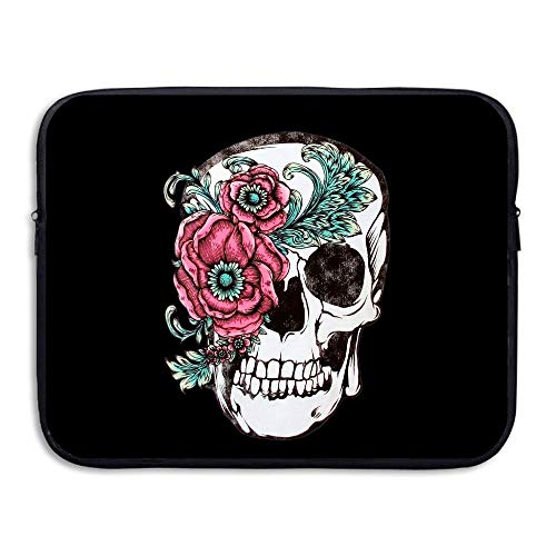 Water-resistant Laptop Bags Sugar Skulls And Roses Ultrabook Briefcase Sleeve Case Bags 15 Inch