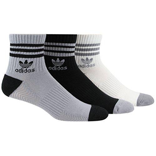Tennis Adidas Crew Socks (adidas Men's Originals Cushioned Quarter Socks (3 Pack), Light Onix/Black/White, Large)