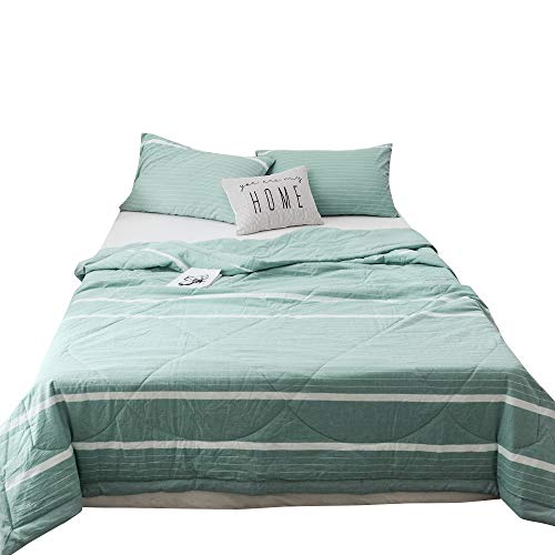 Simple Stripes Green - MKXI Bed Quilt White Stripes Blanket Summer Bedspread Green Thin Comforter Washed Cotton Quilted Coverlet Luxury Lightweight Wrinkle Resistant Twin Size