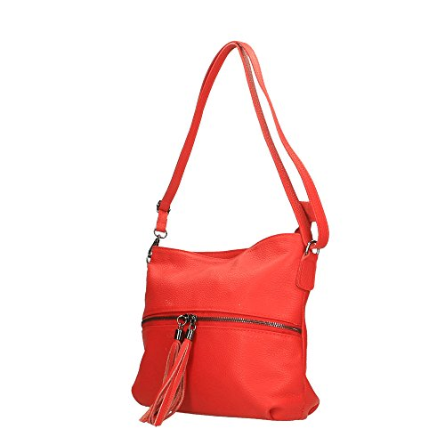 En Italy In Mujer Cuero Borse Genuino Cm Hombro Made De Rojo Chicca Bolsa 30x25x10 xXRqvx