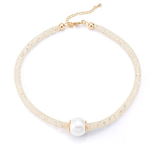 (Mytys Fashion Mesh Crystal Cubic Zirconia Choker Necklace Pearl Pendant 18k Rose Gold Plated)