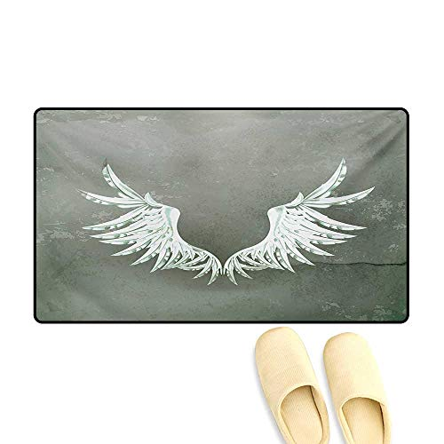 "Door Mats,Old-Fashion Coat of Arms Wings in Front of Cracked Dirty Wall Royal Insignia Design,Customize Bath Mat with Non Slip Backing,Grey White,20""x32"""