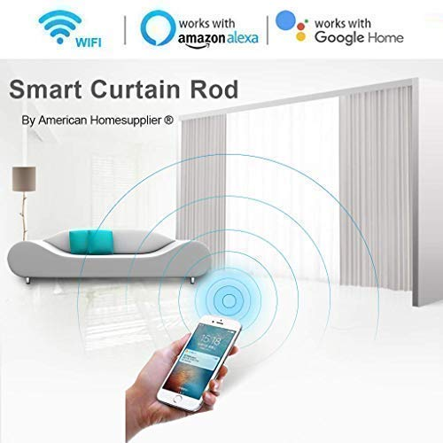 Homesupplier Smart Curtain Rod, WiFi Control and Timer Setup via Phone App, Work with Alexa, Google Home (10 ft) from American Homesupplier