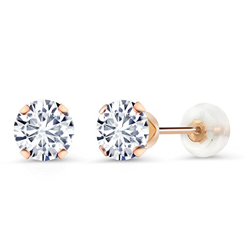 10K Rose Gold Stud Earrings Timeless Brilliant (IJK) Round 1.00ct (DEW) Created Moissanite Created Moissanite Earring Studs