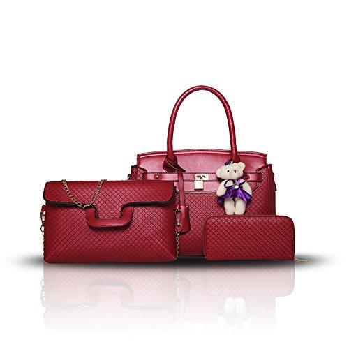 Sdinaz 2018 nuova borsa a tracolla da donna a tre pezzi moda femminile borsa a mano + borsa + portafoglio Rosso