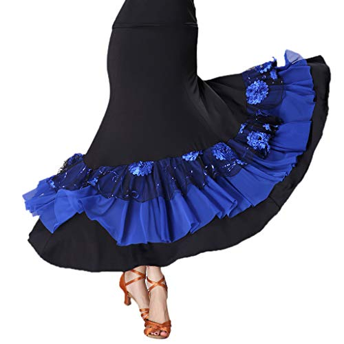 Fityle Flamenco Ballroom Waltz Dance Big Swing Skirt Sequined Modern Style Costume - Black+RoyalBlue, as described