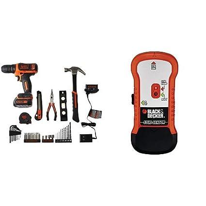 BLACK+DECKER 12V Drill & Home Tool Kit, 42 Piece (BCPK1249C) with BLACK+DECKER SF100 Wood Stud Finder