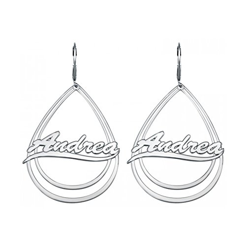 Custom Name Earrings (HACOOL 925 Sterling Silver Personalized Dangle Teardrop Name Earrings Custom Made with Any Names (Silver))