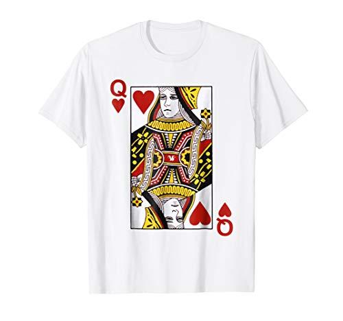 Queen of hearts Tshirt Blackjack Cards Poker 21 Q Tee -