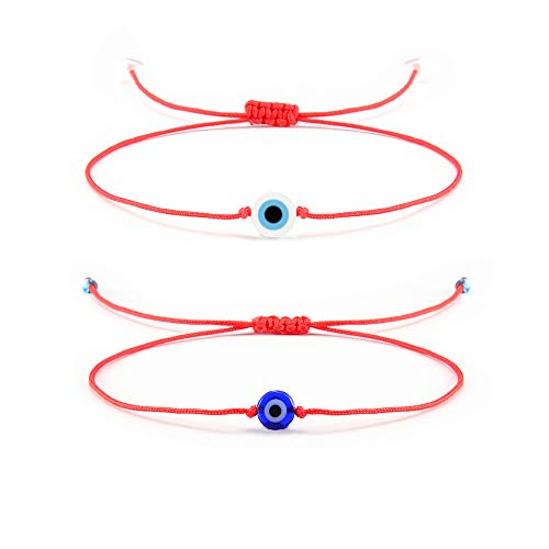 Shonyin Evil Eye Red String Bracelets Unisex Luck Kabbalah Ojo Turco Bracelets 2 pcs/Set Birthday Gifts for Women Men Family Friends ()