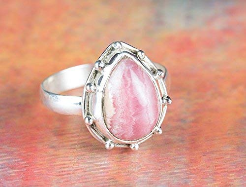 Beautiful Pear Shape - Handmadejewelry - Beautiful Handmade Rhodochrosite Gemstone Ring | 925 Sterling Silver | Pink Color | Healing Rings | Pear Shape | Available in All US Sizes | Perfect Gift for Women | Nickle Free