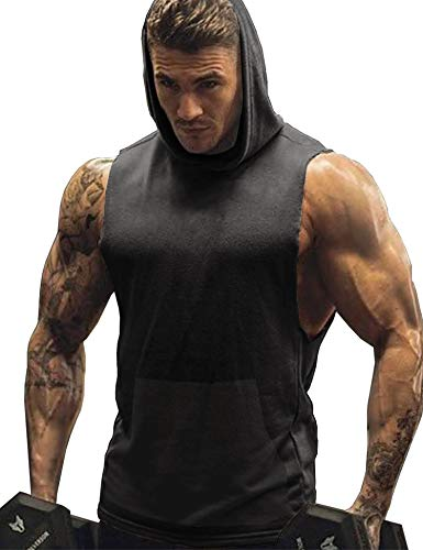 URRU Mens Workout Hooded Tank Tops Sleeveless Gym Hoodies with Kanga Pocket Cool and Muscle Cut Dark Grey XXL - Hooded Top