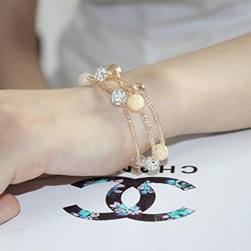 Korean female sparkling diamond bracelet bracelet natural jade purple agate rose quartz crystal multilayer sweet bracelets (Diamonds Sparkling Bracelet)